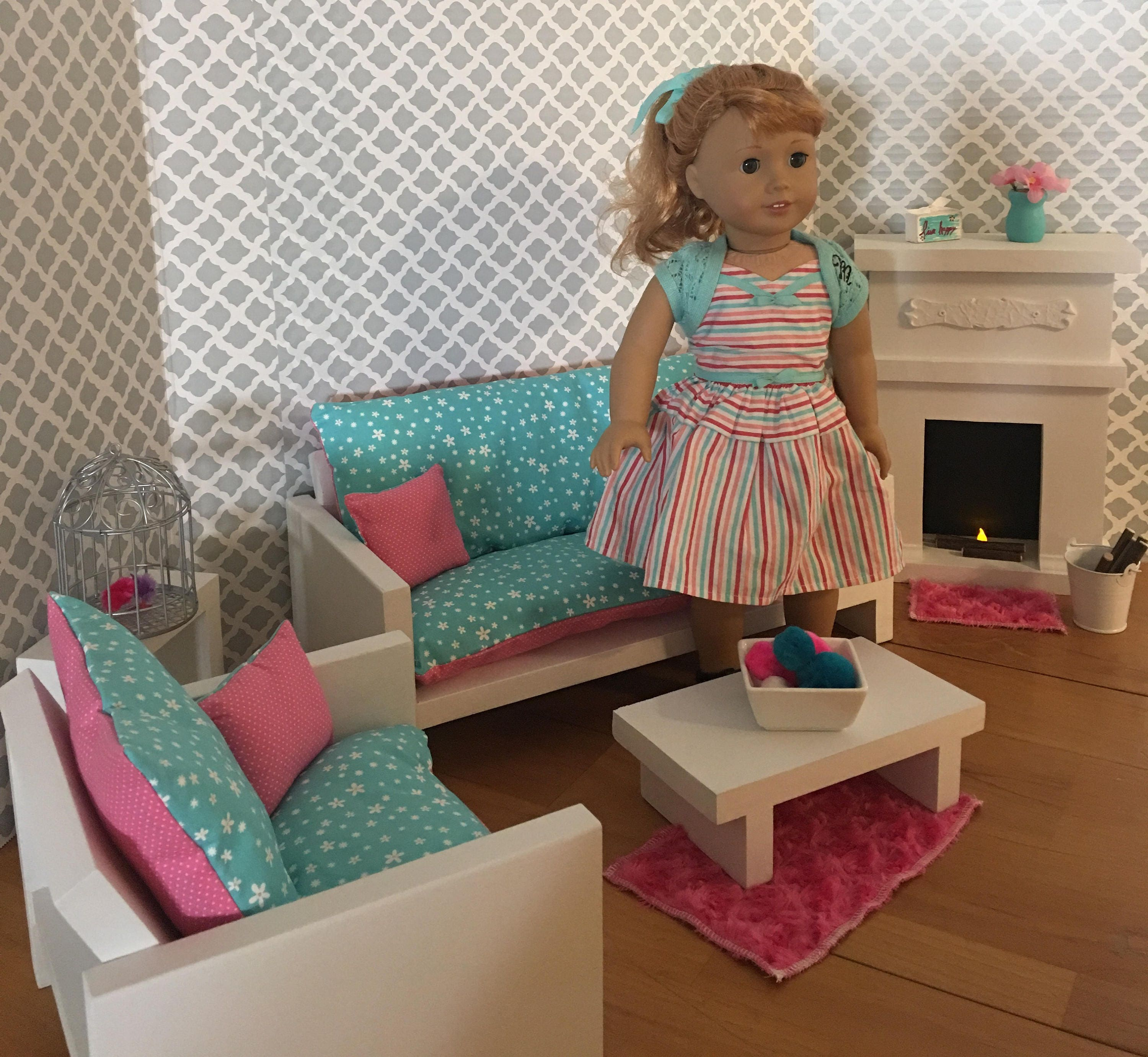 Living Room Set For 18 Dolls Fits The American Girl Dolls