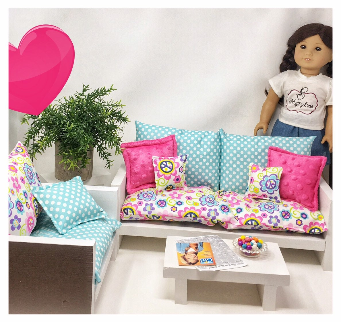 Living room set for 18 dolls fits the American Girl dolls/doll couch ...