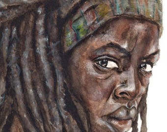 The Walking Dead Michonne Giclee Watercolor Painting - Print