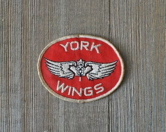 York Wings Patch - Vintage Canadian Sew On Badge - Worn / Dirty Motorcycle, Pilots, or Flying Insignia - Maple Leaf and Flight Wings Design