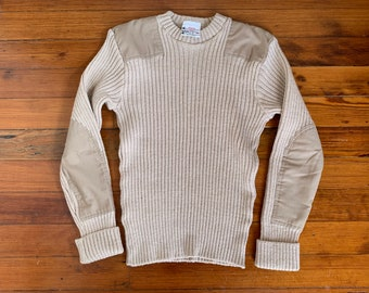 Brigade Quartermasters Vintage Military Sweater - The Wooly Pully Sweater - Made in England Sweater with Elbow Pads Pure Wool Size 40 M / L