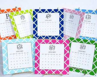 31cef56f0998d5 12 Month Bamboo Monogrammed Calendar and Stand, Start ANY Month