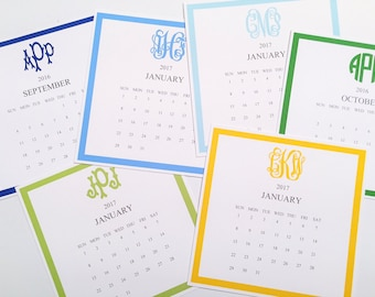 6f368f32d1b2c1 12 Month Monogrammed Calendar and Stand, Start ANY Month