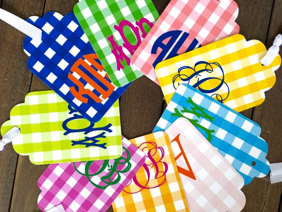 design your own gingham monogrammed gift tags set of 20 etsy