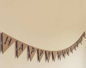 Happy Halloween Bunting  / Laser cut wooden bunting / Wall decor / Home decor