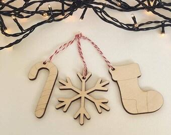 3 Wooden Christmas Tree Ornaments / Candy cane, Snowflake, Santa Stocking