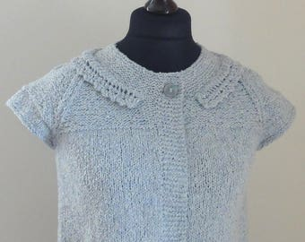 SALE. HALF PRICE. Hand Knitted Rowan Summer Tweed Cardigan. Rowan Hand Knitted Jacket, Rowan Summer Tweed Bolero.