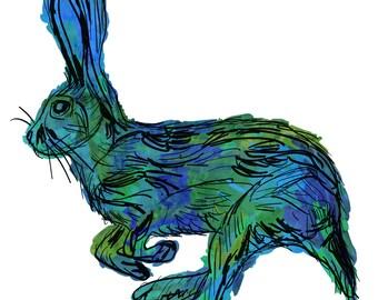 "Rabbit(2OG) Giclée Print - Cavanata - 8"" X 10"" Rabbit Graphic Fine Art Print, Original Illustration, Animal Art"