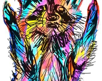 "Raccoon(4) Giclée Print - Cavanata - 8"" X 10"" Raccoon Graphic Fine Art Print, Original Illustration, Animal Art"