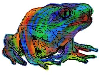"Frog(2OG) Giclée Print - Cavanata - 8"" X 10"" Frog Graphic Fine Art Print, Original Illustration, Animal Art"