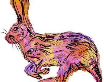 "Rabbit(2) Giclée Print - Cavanata - 8"" X 10"" Rabbit Graphic Fine Art Print, Original Illustration, Animal Art"