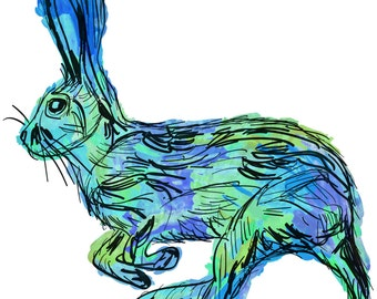 "Rabbit(2B) Giclée Print - Cavanata - 8"" X 10"" Rabbit Graphic Fine Art Print, Original Illustration, Animal Art"