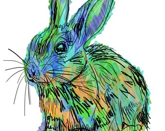 "Rabbit(1OG) Giclée Print - Cavanata - 8"" X 10"" Rabbit Graphic Fine Art Print, Original Illustration, Animal Art"