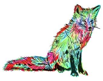 "Fox(1C) Giclée Print - Cavanata - 8"" X 10"" Fox Graphic Fine Art Print, Original Illustration, Animal Art"