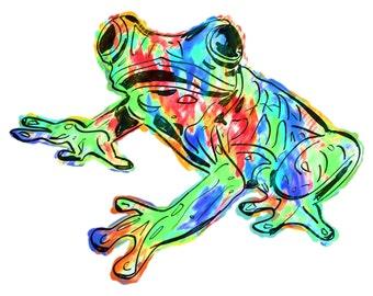 "Frog(1C) Giclée Print - Cavanata - 8"" X 10"" Frog Graphic Fine Art Print, Original Illustration, Animal Art"