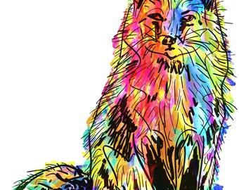 "Fox(2) Giclée Print - Cavanata - 8"" X 10"" Fox Graphic Fine Art Print, Original Illustration, Animal Art"