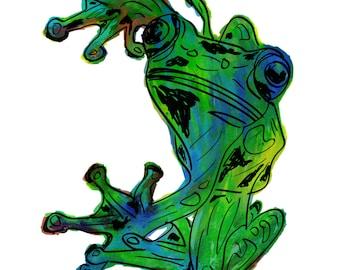 "Frog(3OG) Giclée Print - Cavanata - 8"" X 10"" Frog Graphic Fine Art Print, Original Illustration, Animal Art"