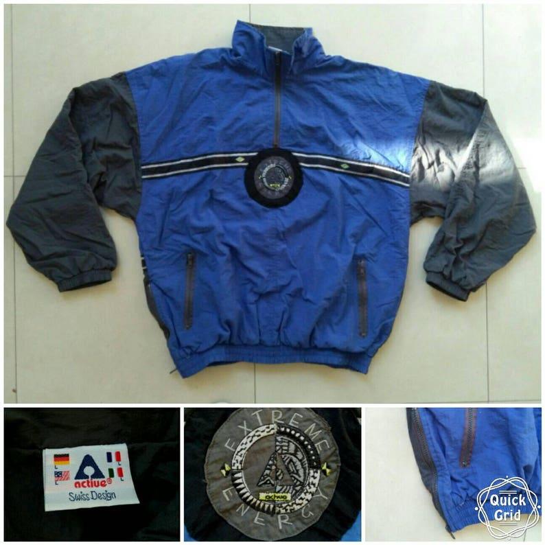 Vtg ACTIVE shell windbreaker jacket Swiss design big logo old school retro bomber rap 90s 80s fila jogging nike adidas puma Size L