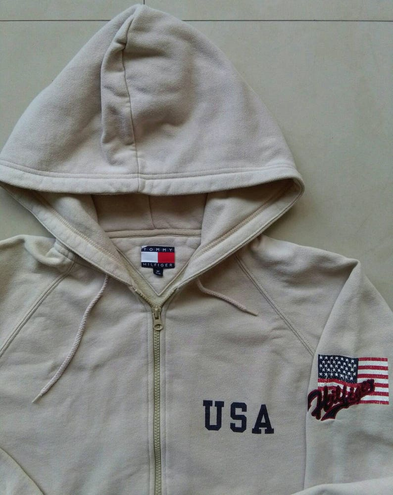 Vtg TOMMY HILFIGER hoodie sweatshirt   Big Logo Retro   old  f6de913d42