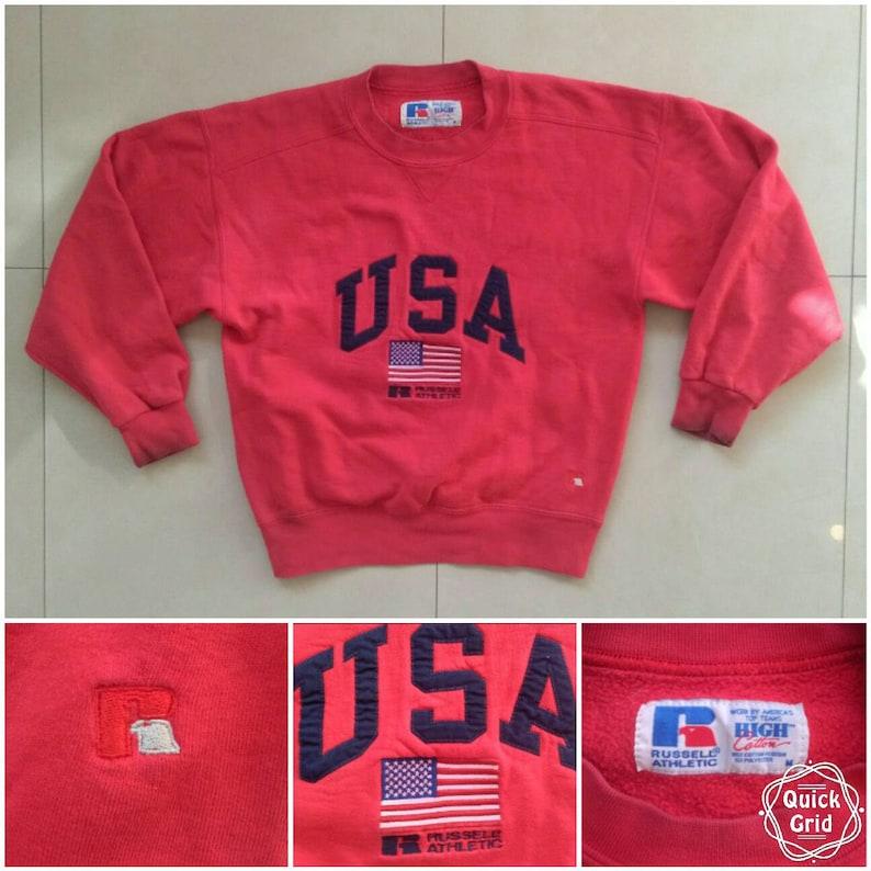 e7ba8ae8b9 Vtg RUSSELL USA flag athletic Sweatshirt / high quality cotton red  sweatshirt hoodie bomber nike starter puma adidas kappa windbreaker / M
