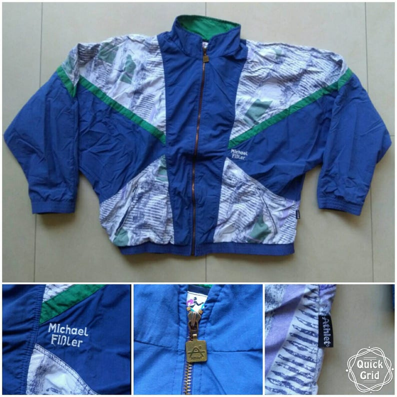 Vtg rare ATHLET Sport Michael Fissler shell windbreaker jacket old school retro bomber bomber 90s 80s fila jogging nike adidas Size L
