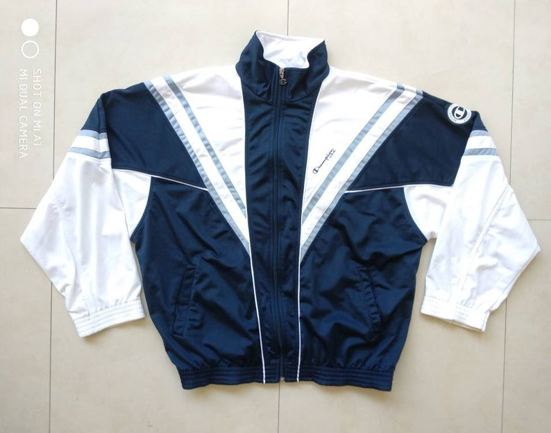 Vtg CHAMPION track windbreaker jacket old school retro sport outdoor 90s 80s nike adidas puma fila shell sweatshirt wu tang Size XL