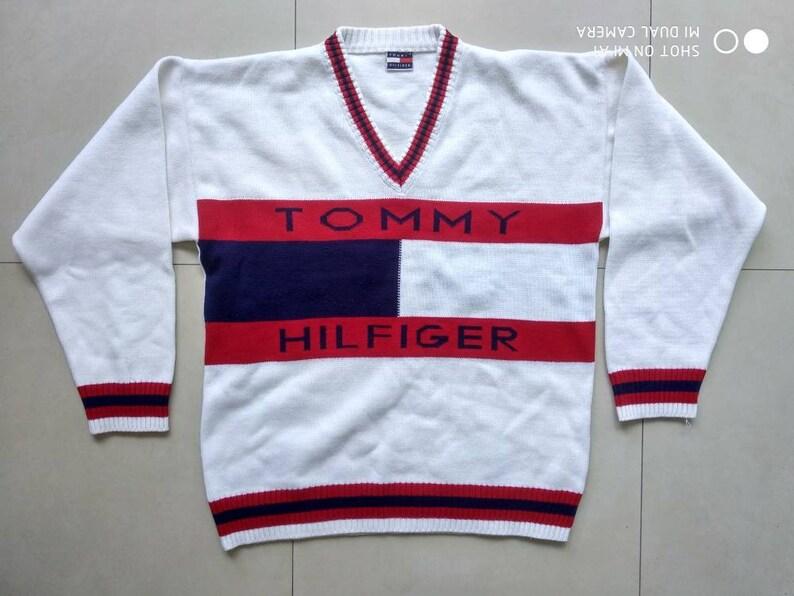 a664d49a Vtg Rare TOMMY HILFIGER SWEATER Big Logo / Retro old school   Etsy
