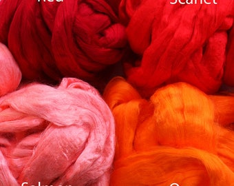 2 oz Viscose Fiber Extra Fine Nuno Wet Felting Supply Spinning Fiber Roving tops scarlet orange paper making textile supplies bamboo fibre