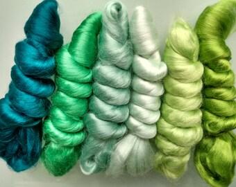 SALE 2 oz Viscose Fiber Extra Fine Nuno Wet Felting Supply Spinning Fiber Roving tops green paper making textile art silk alternative fibre
