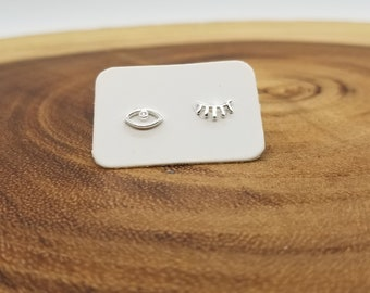 Eye and lashes sterling silver stud earrings
