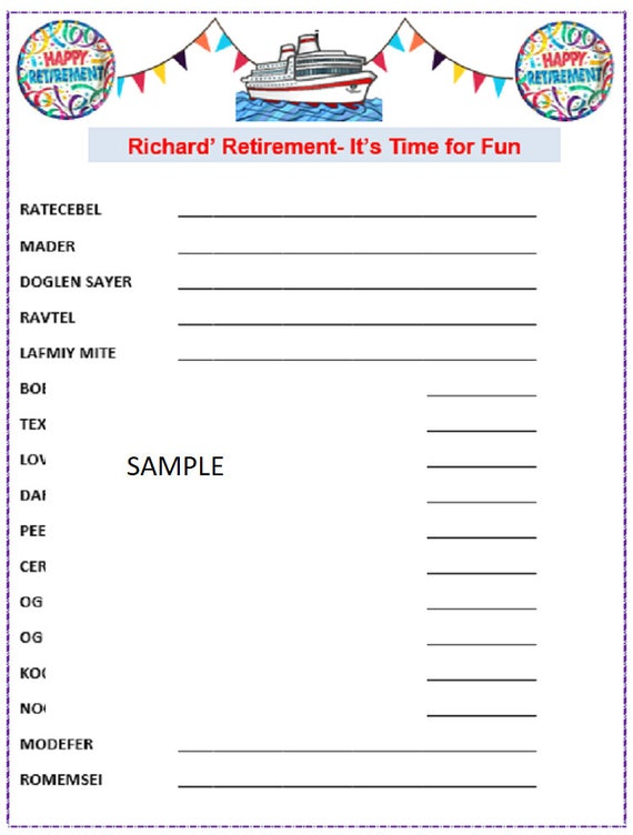 It's just an image of Comprehensive Retirement Party Games Free Printable
