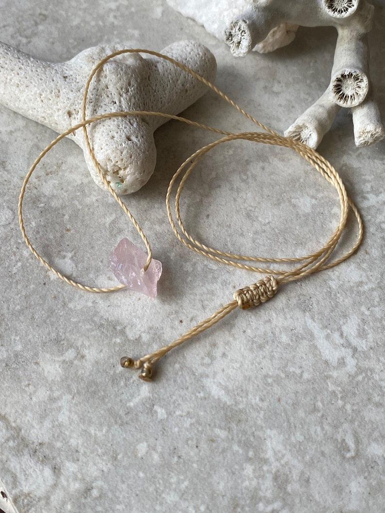 tiny Rose Quartz choker crystal necklace adjustable necklace Rose Quartz choker necklace