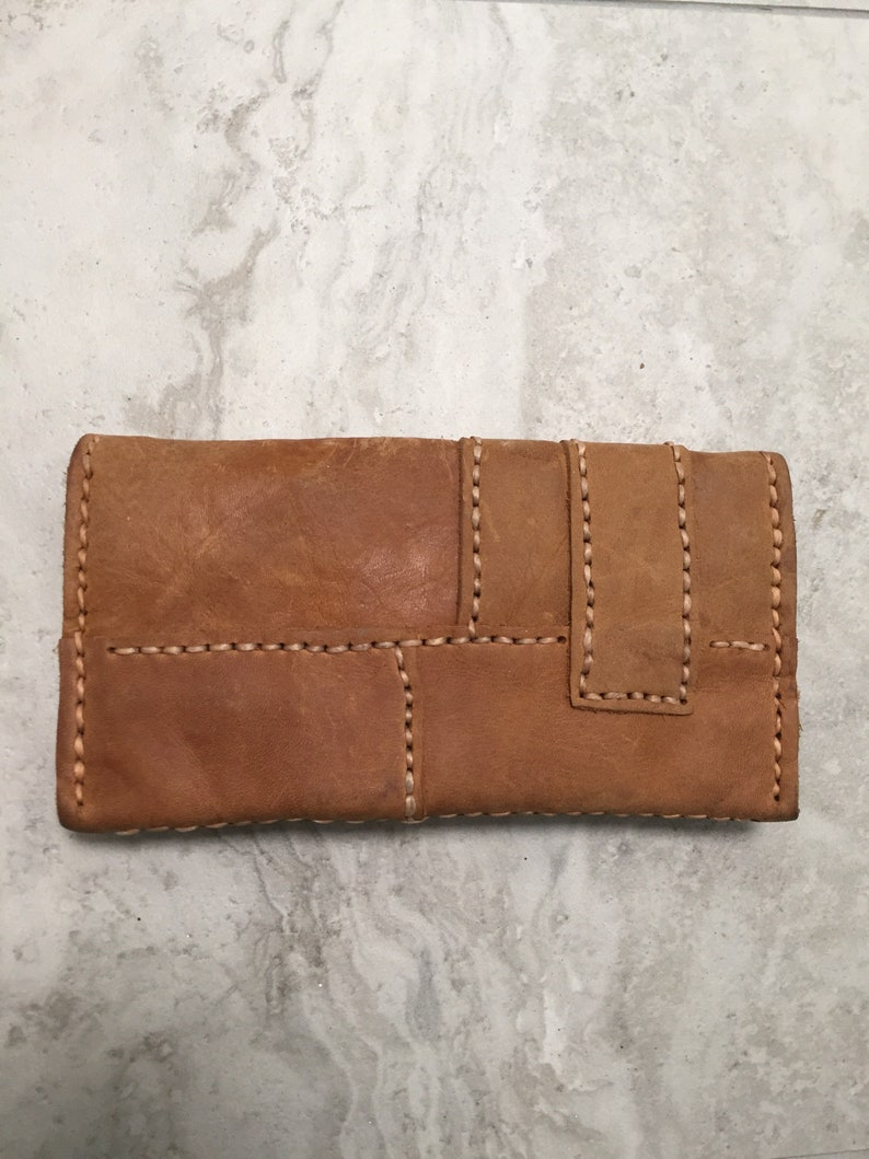 leather wallet Hand stitched leather Tobacco Pouchwallet with Malachite handstitched leather wallet,