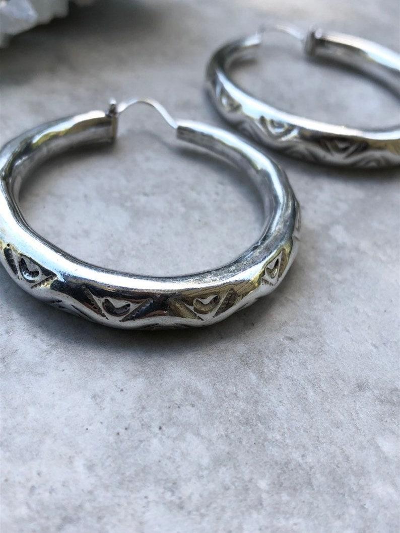 textured hoops 55 thick silver hoops tribal hoop earrings hand carved hoops Shakti hoops Large sterling silver hoops