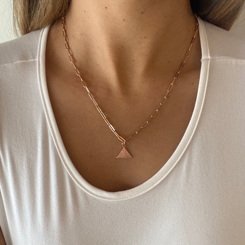 Girlfriend Gift Rose Gold Pyramid,Rose Gold Jewelry,Rose Gold Choker,Rose Gold Chain Rose Gold Filled Pyramid Necklace Rose Gold Necklace
