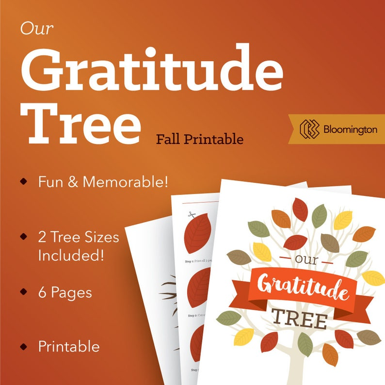 image about Thankful Tree Printable identified as Graude Tree / Grateful Tree / Tumble Printable / Thanksgiving Printable / Tree Wall Artwork / 6 internet pages // Fast PDF Down load