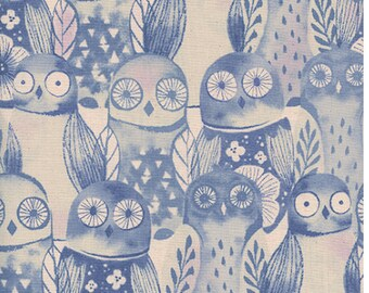 Wise Owls - Firelight - Cotton + Steel fabric - half yard or more
