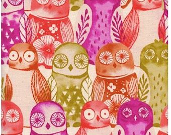 Wise Owls in Fuschia - Firelight - Cotton + Steel fabric - half yard or more