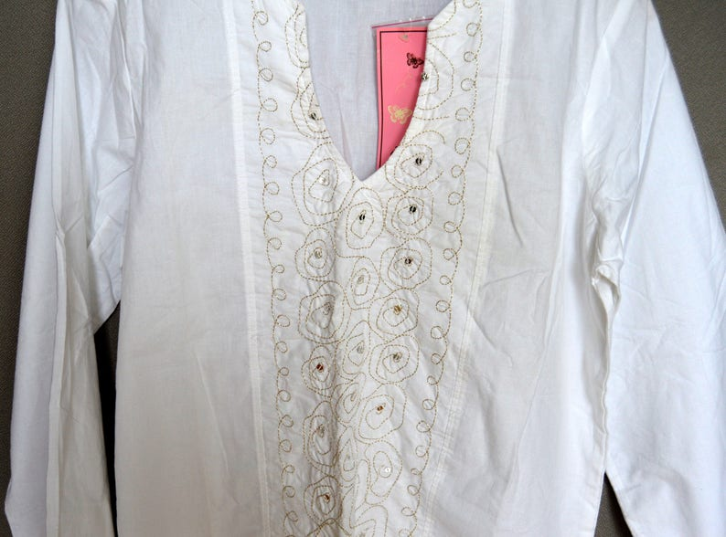 d1794791c90 White Blouse NOS Cotton Peasant Blouse Boho Top Embroidered | Etsy