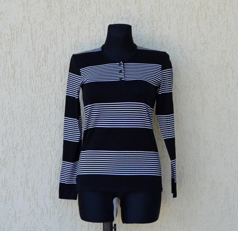 51e5f488a Marimekko Top Black White Striped Womens Shirt Nautical Top