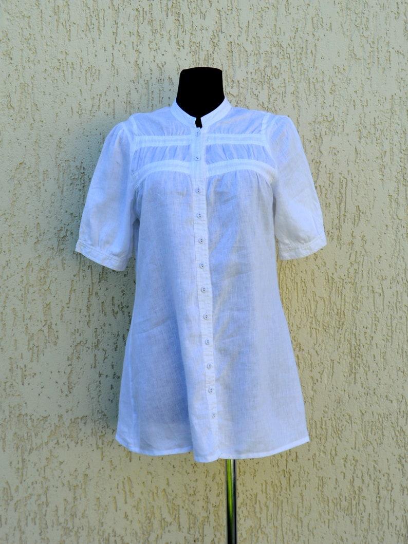 White Linen Blouse Vintage Linen Tunic White Shirt Womens Linen clothing Oversize linen Boho buttons up blouse Medium Size