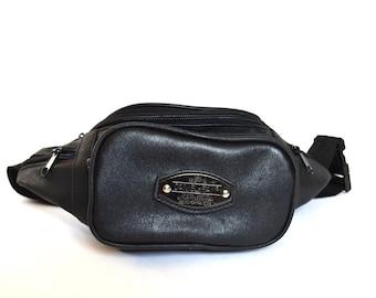 Vintage vegan leather belt bag black faux leather belt pouch belt wallet waist bag pouch fanny pack boho festival Mini purse