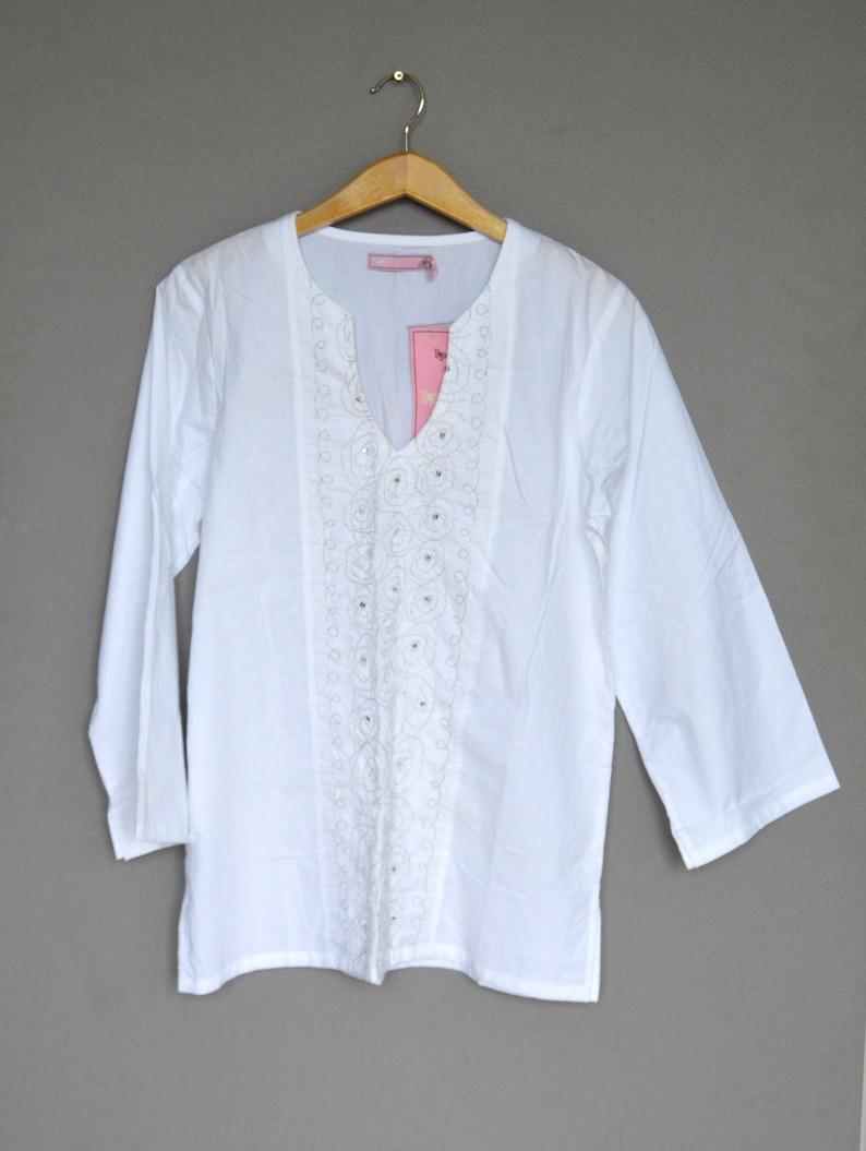 2aafe60de628e4 Weiße Bluse NOS Baumwolle Bauer Bluse Boho Top bestickte | Etsy