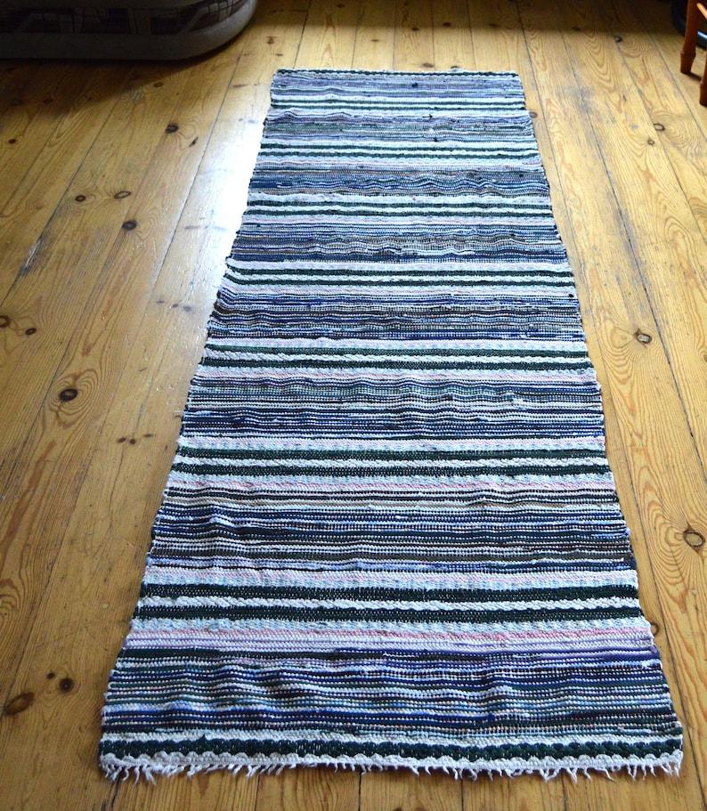 Scandinavian Rug Rag Vintage Striped Floor Runner Rustic Etsy