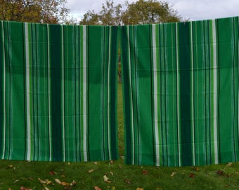 Vintage Scandonavian Curtains Green Long Curtain Panel Set of 2 Woven Wool Curtains woolen stripped pelmet home decor Cottage Chic