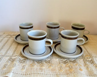 Vintage 70s Arabia Finland KARELIA coffee cups and saucers Set of 5 Retro kitchen decor Made in Finland
