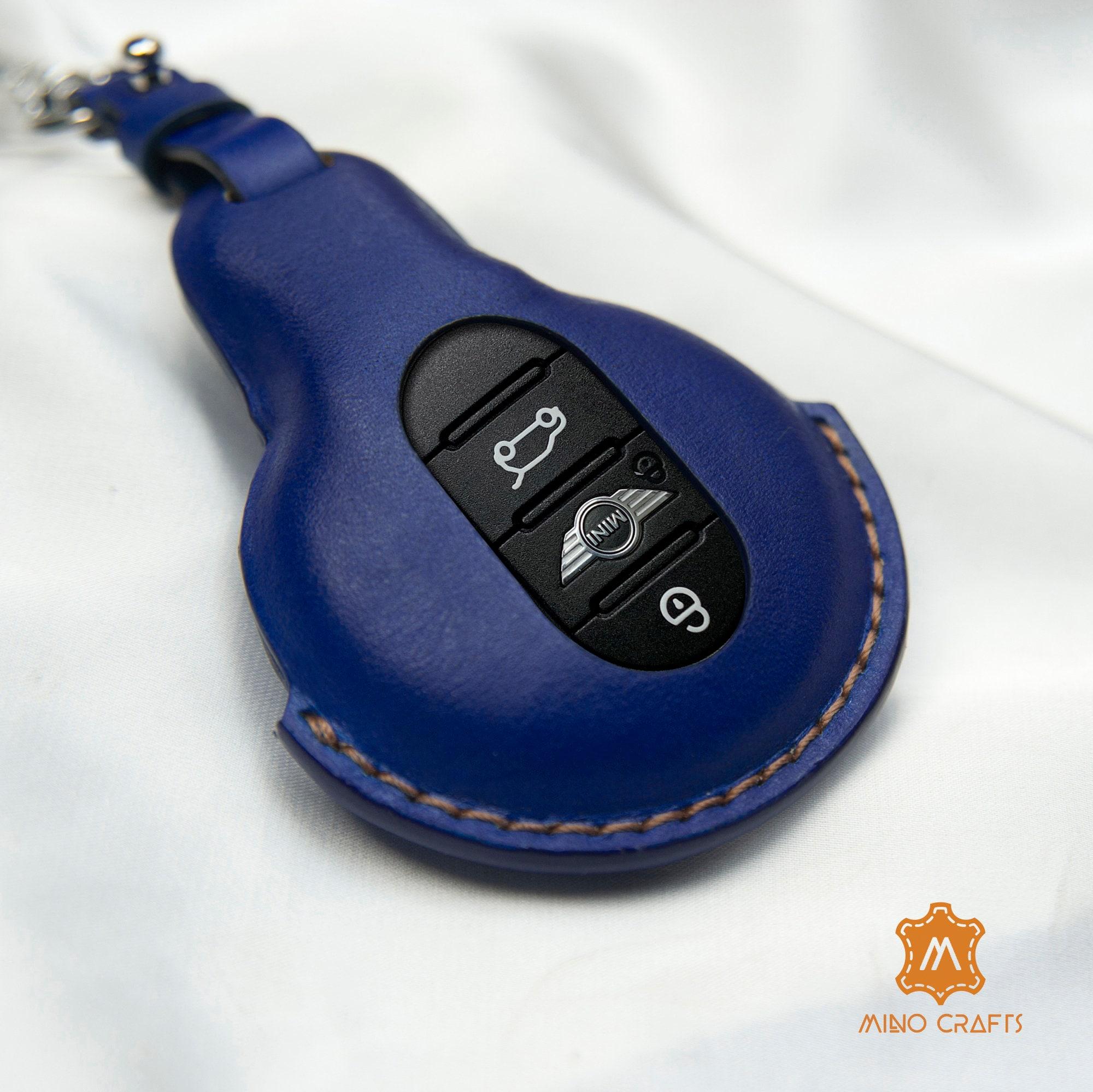 Mini Cooper Key Fob Cover Handmade Blue Leather Car Key   Etsy