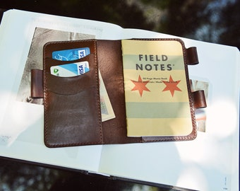 "Hand Sewing Leather Journal Cover for Moleskine Cahier Notebook Pocket size with pen holder 3.5"" x 5.5"" Field Notes Cover Vintage Refillable"