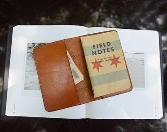 "Hand Sewing Buff Leather Journal Cover for Moleskine Cahier Notebook Pocket size 3.5"" x 5.5"" ,Leather Field Notes Cover Vintage Refillable"