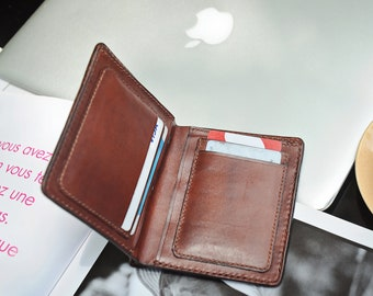 Hand Sewing Leather Wallet, Personalized Brown Leather Bifold Wallet, Front Pocket Slim Leather Wallet,  Gift for him, Gift For Father